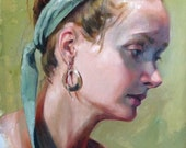 Portrait Painting Oil Original Girl with Green headband, Profile