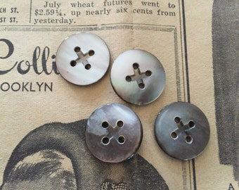 "Vintage MOP antique mother of pearl buttons (4) 4 hole 11/16"" black new old stock"