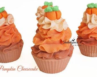Pumpkin Cheesecake Handmade Artisan Vegan Soap Cupcake, handmade soap, cold process soap, soap cupcake cake soap