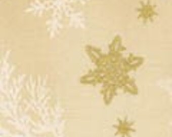 Robert Kaufman Metallic Holiday Flourish 9 15767 14 Ivory with Gold Snowflakes By The Yard
