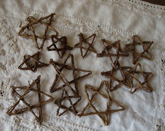 Grapevine stars twig embellishments Rustic Christmas supplies mini stars DIY Christmas craft supplies rustic natural twigs branches sticks