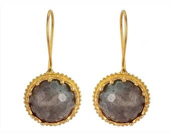 Crowned Ball Grey Labrodorite Earrings in gold vermeil silver