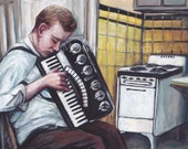 Practicing Accordion in the Kitchen, Original Painting, Music, Musician, Vintage Kitchen, Portrait, Stove, Man, Yellow Kitchen, 1940s, 1950s