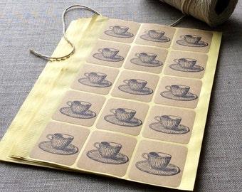 "30 Tea Cup Stickers, 1 1/2"" square stickers, Teacup stickers, Tea cup labels, tea cup seals, Tea cup favors"