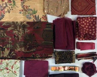 Lot of Dark Red Themed Fabric, Ribbon, Trim- Lot B