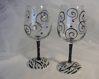 painted wine glass with black and white zebra print, swirls and polka dots - can be personalized