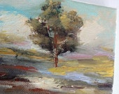Small Oil Painting- Landscape- Tree- painting- Small Oil Painting- 4 x 5- Original Oil Painting