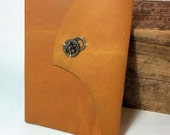 Yellow Orange Leather Baby Journal by Binding Bee Indianapolis, Indiana