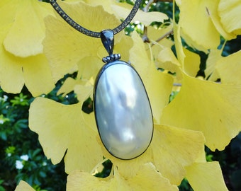 Bold Aqua Silver Osmena Pearl Pendant Necklace, Blackened Sterling Silver, Exotic, Nautilus Shell, 18 inches, Organic, Domed, Neck Wire