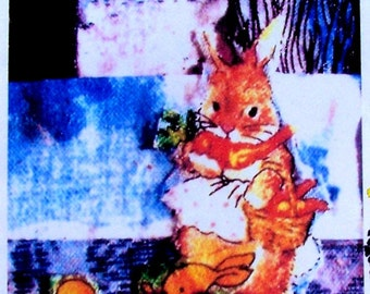 Momma Bunny Print    ACEO originally done on pieced fabric