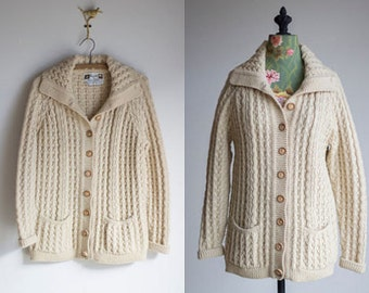 Pallas cable knit sweater | 1970s wool sweater | vintage wool cardigan