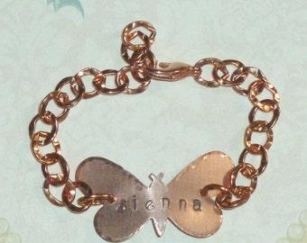 Butterfly Bracelet, Personalized Butterfly Hand Stamped Copper ID Name Bracelet - Personalized Butterfly Bracelet