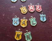 11 pc pastel monogram shield charms - vintage souvenir findings old new stock
