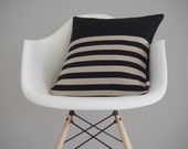 Stripe Patterned Pillow Cover in Black and Natural Linen by JillianReneDecor - Modern Home Decor - Breton Striped Pillow - Gift for Him