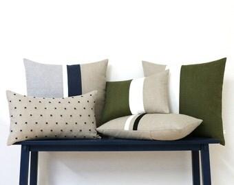 Linen Pillow Cover Set of 5 - AS SEEN in Emily Henderson's Living Room - Good Housekeeping Magazine - Pillows by Jillian Rene Decor - Olive