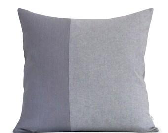 20x20 Grey Chambray Colorblock Pillow Cover - Modern Home Decor by JillianReneDecor - Scandinavian Inspired - Minimal Pillows