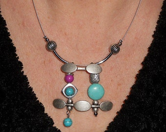 Statement Necklace, boho necklace, turquoise jewelry, metal jewelry, statement necklace, mothers day gift, asymmetric jewelry, boho jewelry