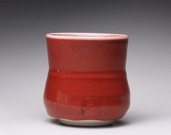 handmade porcelain cup, ceramic tumbler, yunomi with bright red and turquoise celadon glazes