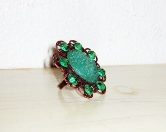 Jade Green Ring, Glass Cabochon, Cocktail Ring, Carved Jade Ring, Emerald Green, Filigree, Big Ring, Whimsical Jewelry, Adjustable Ring