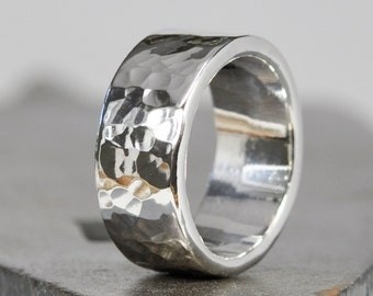 Hammered Silver Ring, Engraved Pure Silver, 8mm Wide, Unisex, Sea Babe Jewelry