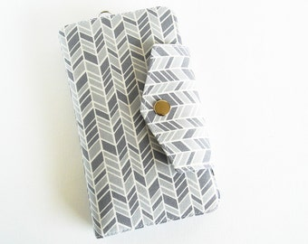 Passport Wallet, Travel Wallet, Family Passport Holder in Grey Herringbone,  To Fit Up to Four Passports -  Made To Order