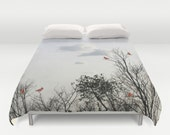 Red Cardinals Duvet Cover, Decorative bedding, Trees Bedding, Cloudy sky, Nature bedding, bedroom, Goth, Gothic, Woods Bedding, Branches