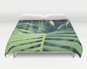 Tropical Palms Duvet Cover, Tropical Bedding,Tropical Palm Bedspread, Decorative, Jungle Bedding, Unique Design, Comforter Cover, Bedroom