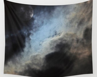 Moonlight Shadow Wall Tapestry, Moon Tapestry, Night Sky Home Decor, Nature Tapestry, Wall Tapestry, Cloudy Night Tapestry, Dark, Supermoon