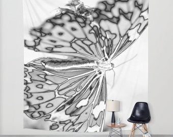 BUTTERFLY Wall Tapestry, Black White Tapestry, Contemporary Home Decor, Modern Wall Tapestry, Whimsical, Mono, Happy, Dorm, Office, Light