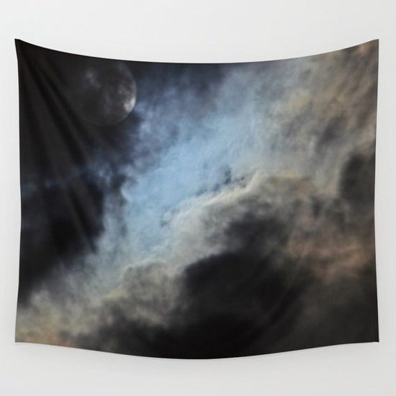 Moonlight Shadow Wall Tapestry, Moon Tapestry, Night Sky Home Decor, Nature Tapestry, Cloudy Night Tapestry, Dark, Super-moon, Dorm, Office