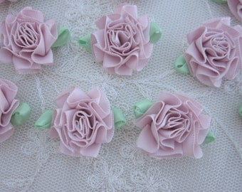 12 pc PINK Ribbon Carnation Cabbage Rose Fabric Flower Applique Baby Doll Hair Bow