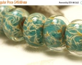 ON SALE 35% OFF Six Emerald w/Yellow Free Style Rondelle Beads - Handmade Glass Lampwork Bead Set 10504101