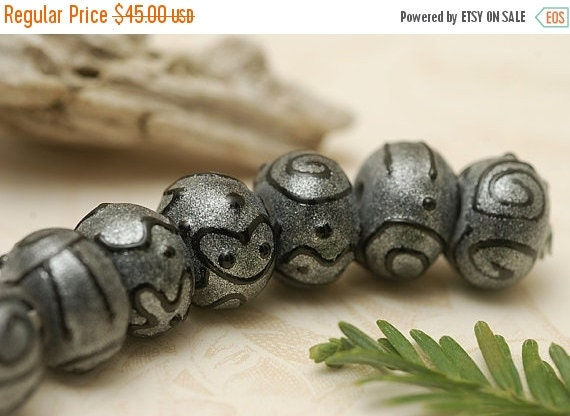 ON SALE 30% OFF Handmade Glass Lampwork Bead Set - Seven Gray Pearl Surface w/Black Rondelle Beads 11205001