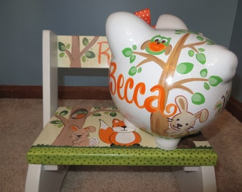 hand painted personalized piggy bank bunny tree top forest