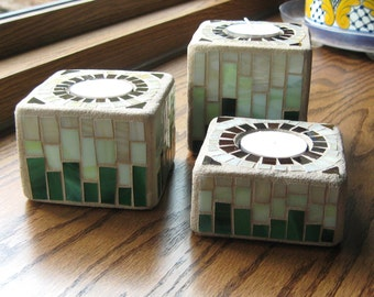 Stained Glass Mosaic Candle Holder Set