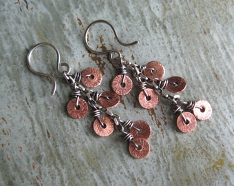 Mixed Metal Copper and Sterling Silver Dangle Earrings