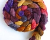 Blueface Leicester/ Tussah Silk Roving (Top) - Handpainted Spinning or Felting Fiber,  October's Party