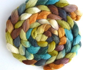 Merino/ Silk Roving (Top) - Handpainted Spinning or Felting Fiber, Slow and Easy