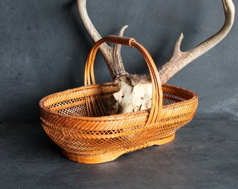 Vintage Gathering Basket, Wicker and Wood, Farmhouse Rattan Bamboo Style