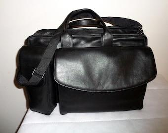 Franklin Quest XLrg laptop briefcase, messenger bag, court bag ,dual handle portfolio , thick buttery full grain napa leather vintage 90s