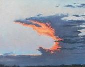 Anvil Cloud at Sunset, original oil painting