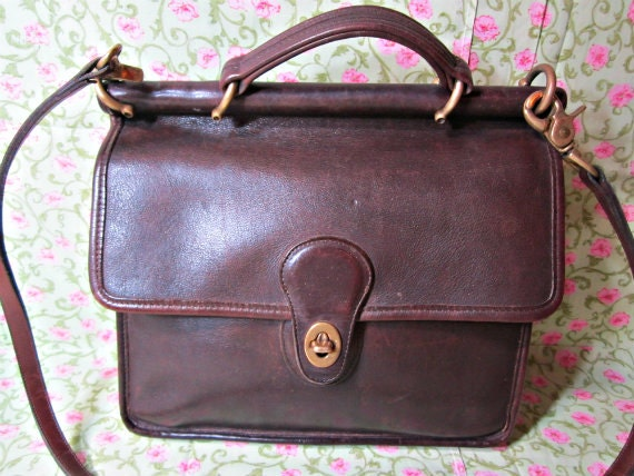 leather coach bag willis style vintage coach purse brown. Black Bedroom Furniture Sets. Home Design Ideas