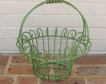 Antique Vintage Metal Basket Antique Vintage Farm Basket With Metal Handles Vintage Flower Basket