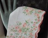Valentines Day Sale Vintage hanky flocked pink floral hanky pink print hanky vintage handkerchief flocked hanky pink flowers