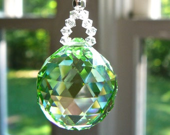 "Crystal Suncatcher, Green Car Charm, Rearview Mirror, Car Decoration, 20mm Swarovski Crystal Ball Comes in 14 Colors - ""LITTLE SIMPLICITY"""