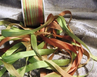 Variegated green and bronze 7mm silk ribbon #108  3 yards