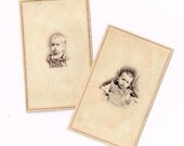Vintage Post Mortem Remembrance Photo Cards of Small Children