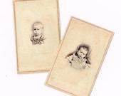 Vintage Post Mortem souvenir Photo cartes de petits enfants