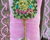 Sweet Topiary Mini Hand Embroidered Pillow Ready to Ship