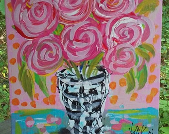 Abstract Roses in Vase Painting Ready to Ship 11 x 14